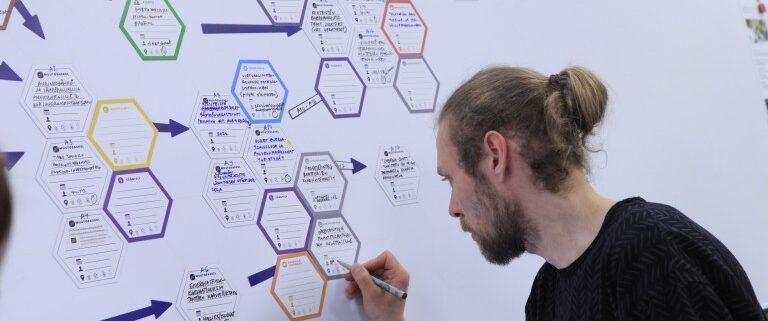 Ihminen kirjoittaa suureen tauluun, jonka äärellä kansalaisenergia-areenassa työskenneltiin.